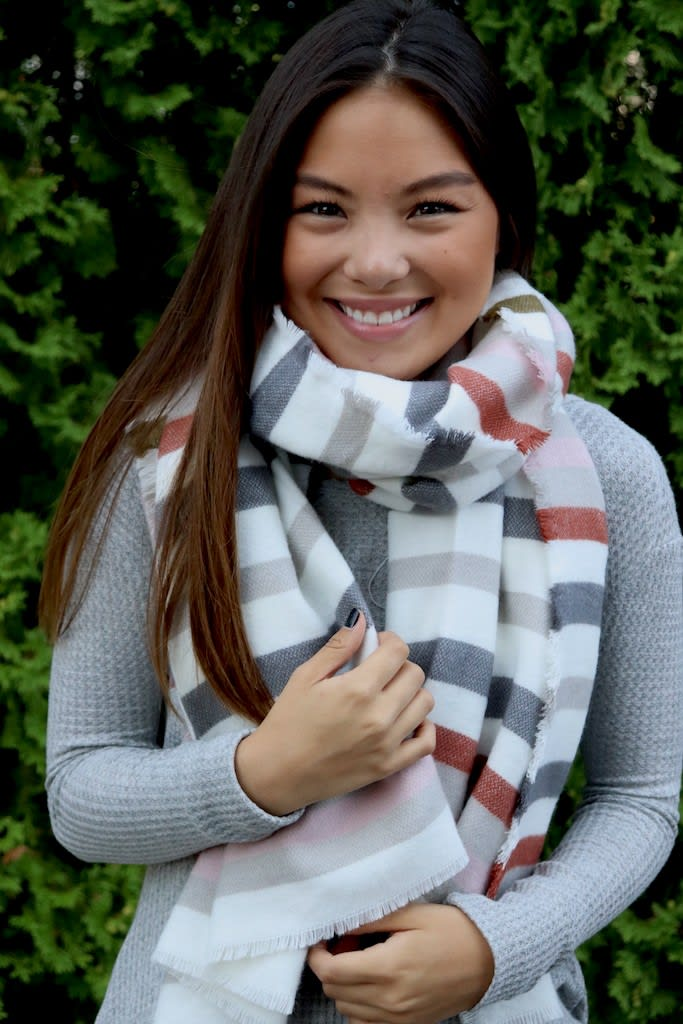 Clean-Linen Neck Scarf with a Pop of Rust - Red / Cream - Front