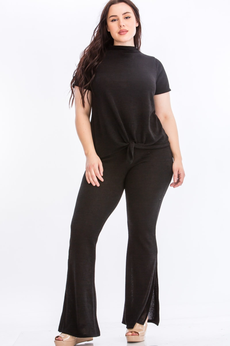 Tie Top And Split Bell Pant Lounge Set - Black - Front