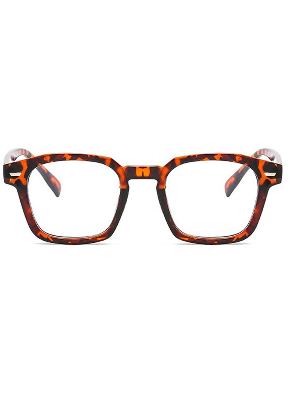 Classic Square Blue Light Blocker Glasses - Tortoise - Front
