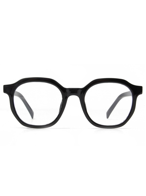Classic Round Blue Light Blocker Glasses - Black - Front