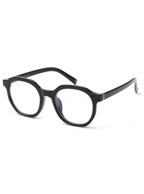 Classic Round Blue Light Blocker Glasses - Black - Back