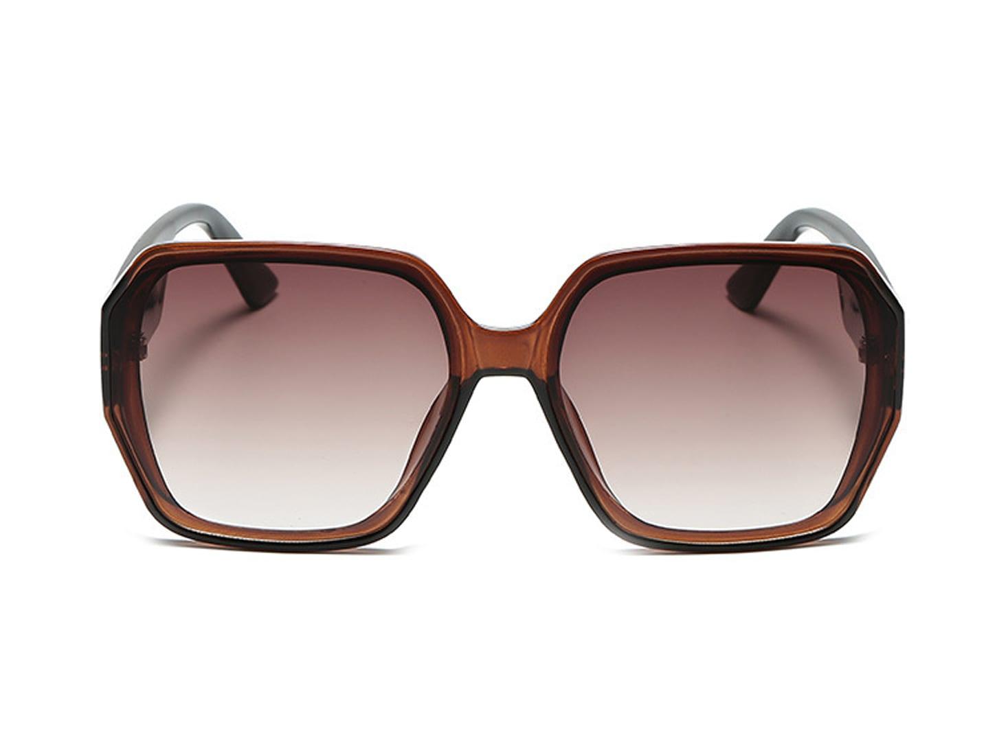 Brown Oversized Square Sunglasses -  - Front