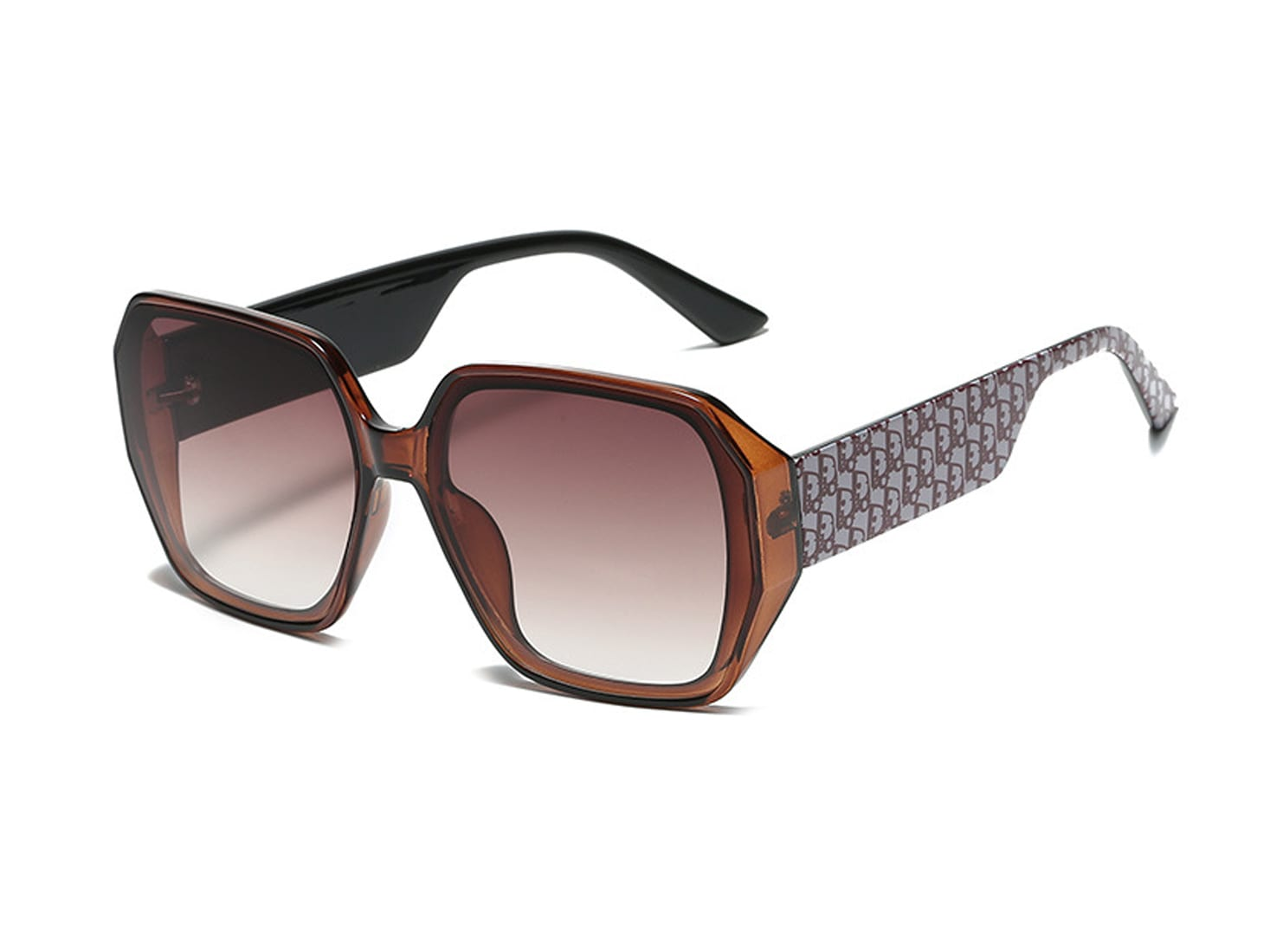 Brown Oversized Square Sunglasses -  - Back