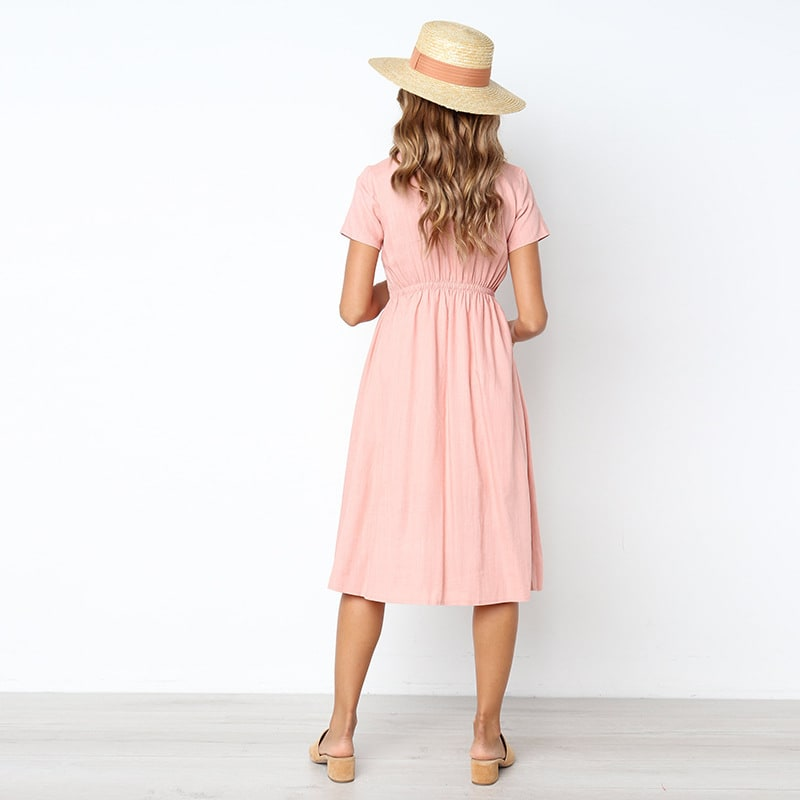 Buttoned V-Neck Dress With Pockets - Baby pink - Back
