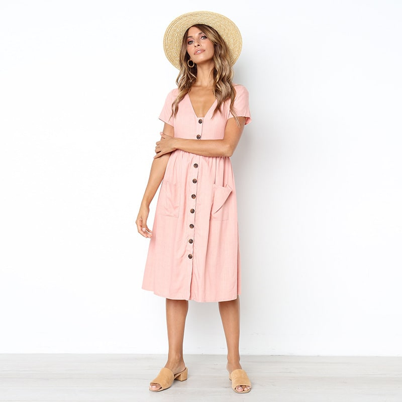 Buttoned V-Neck Dress With Pockets - Baby pink - Front