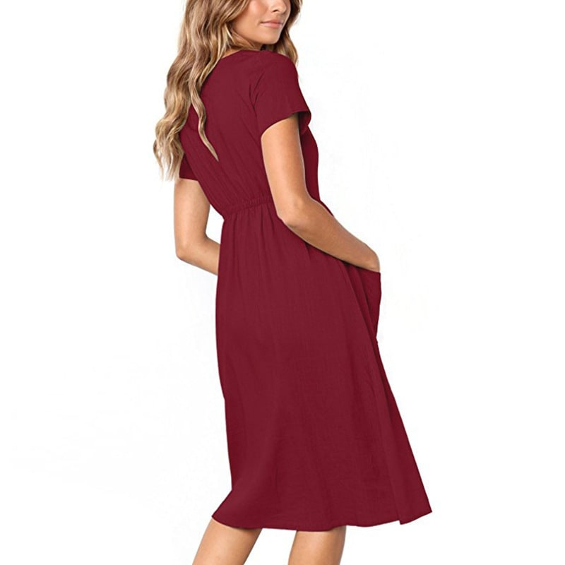 Buttoned V-Neck Dress With Pockets - Maroon - Back
