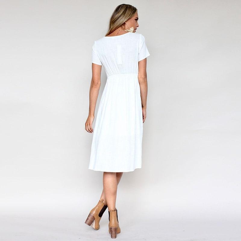 Buttoned V-Neck Dress With Pockets - White - Back