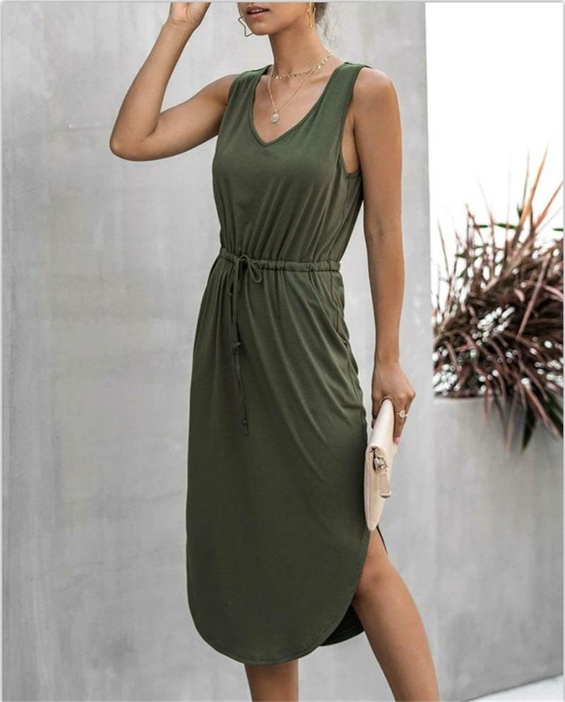 Sleevless V-Neck Dress - Khaki - Back