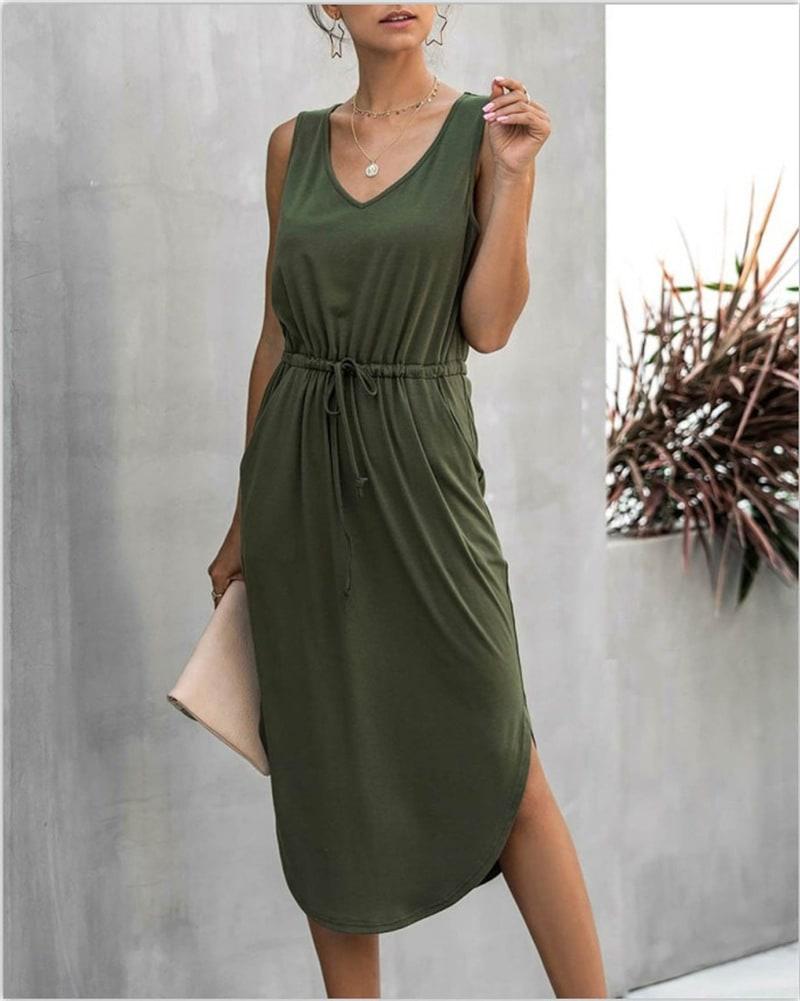 Sleevless V-Neck Dress - Khaki - Front