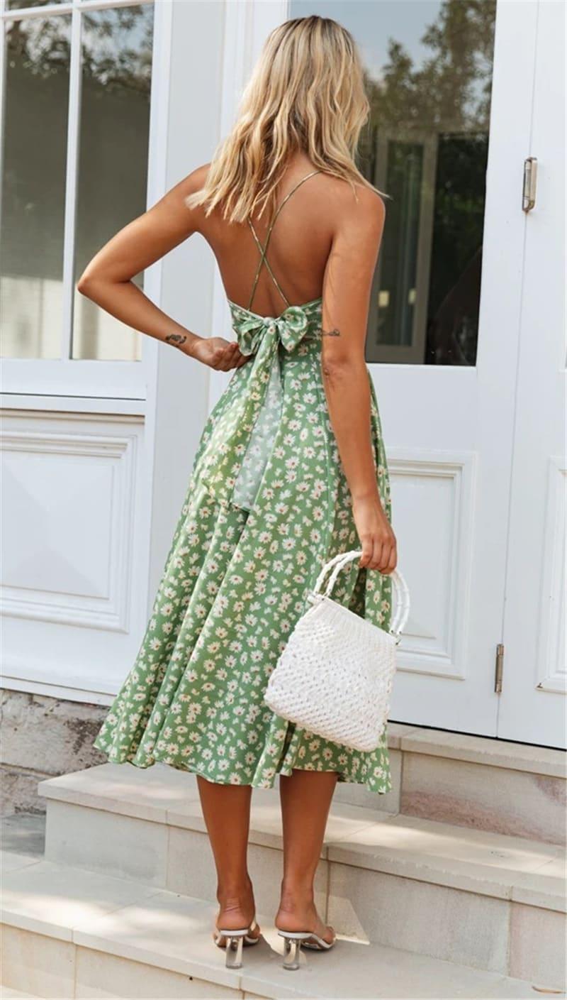 Spaghetti Strap Slip-on Dress - Misses - Green - Back