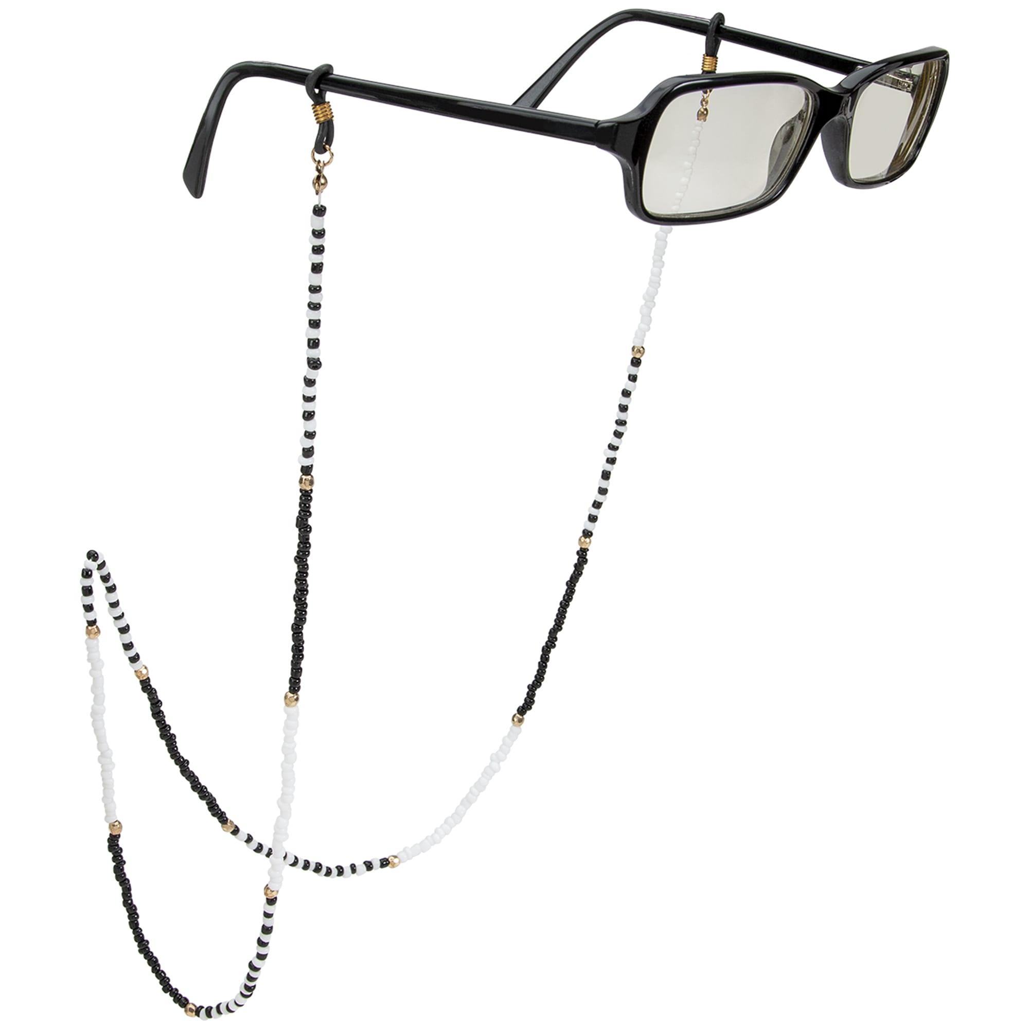 Black and White Beaded Eyeglass/Sunglass Retainer - Black/White - Front