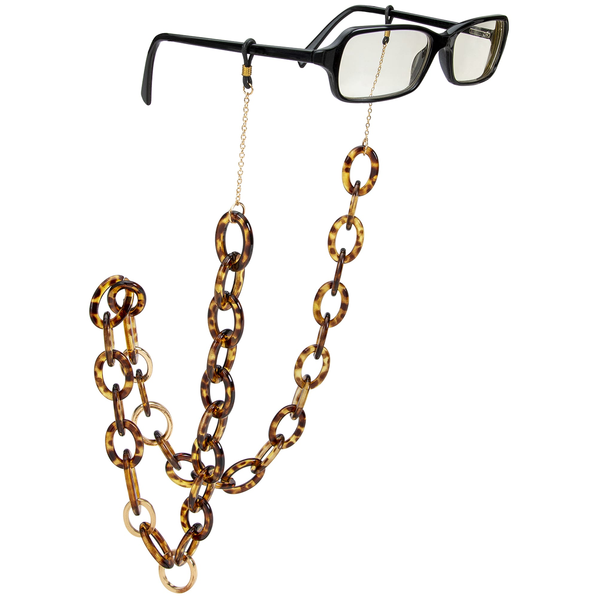 Retro Tortoise and Gold Chain Eyeglass/Sunglass Retainer - Tortoise - Front