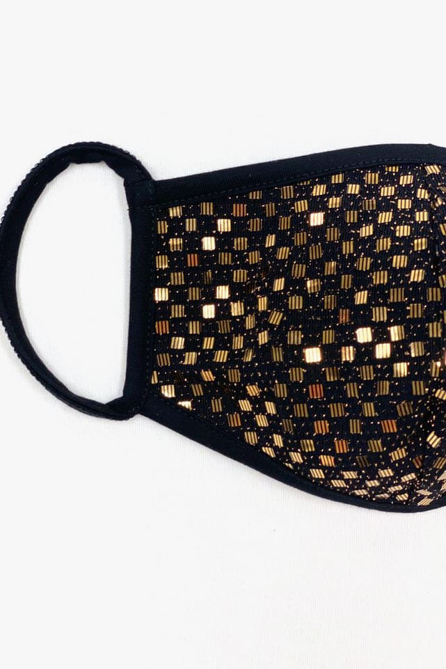 Metallic Checkered Sequin Printed Fashion Face Mask - Gold - Detail