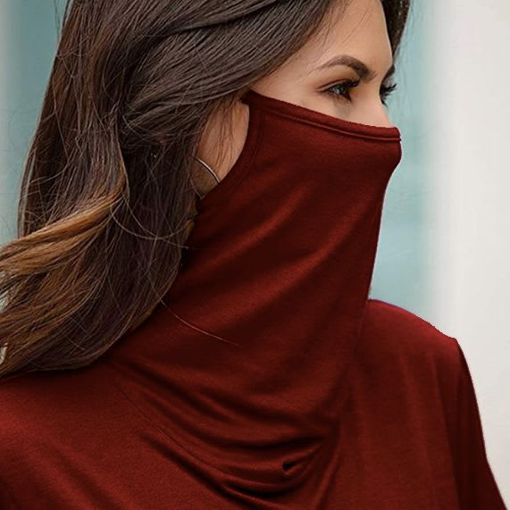 """""""Never Forget Your Mask"""" Fashion Top - Red Wine - Detail"""