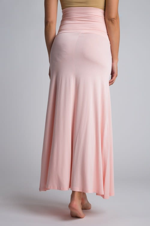 Ultra-Soft Maternity Fold-Over Skirt - Blush - Back