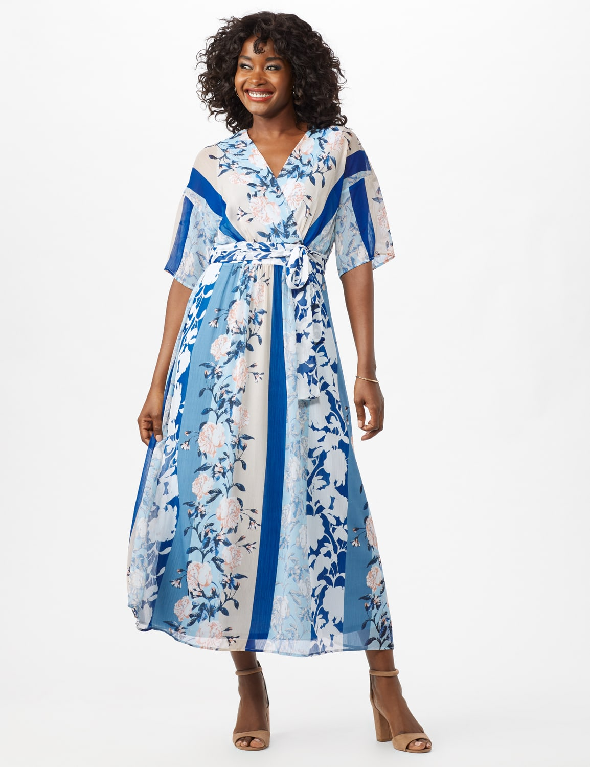 Floral Stripe Patio Dress - Sky Blue/Multi - Front