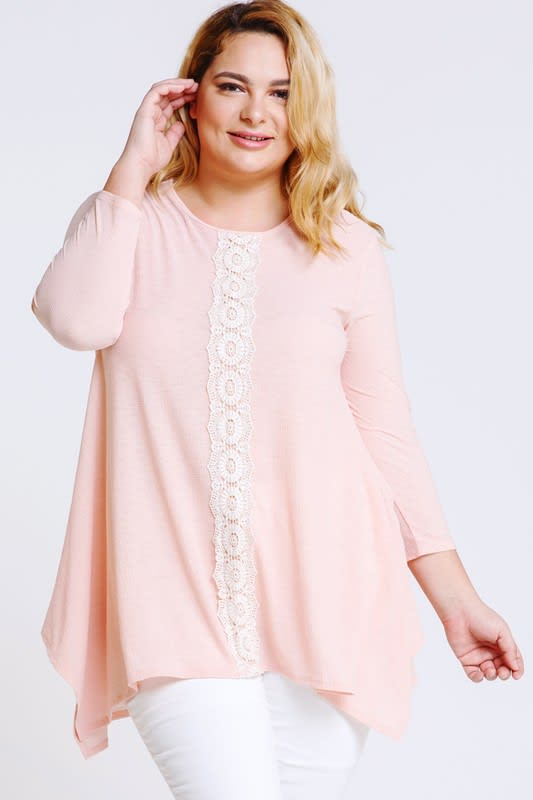 Lace x Crochet Pink Top - Blush - Front