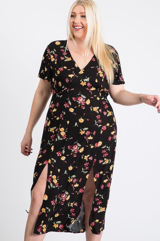 Sunkissed Floral Dress - Black - Front