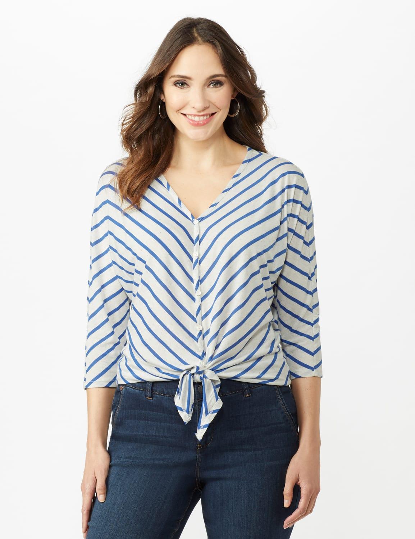 Stripe Tie Front Knit Top - Oatmeal/Blue Ocean - Front