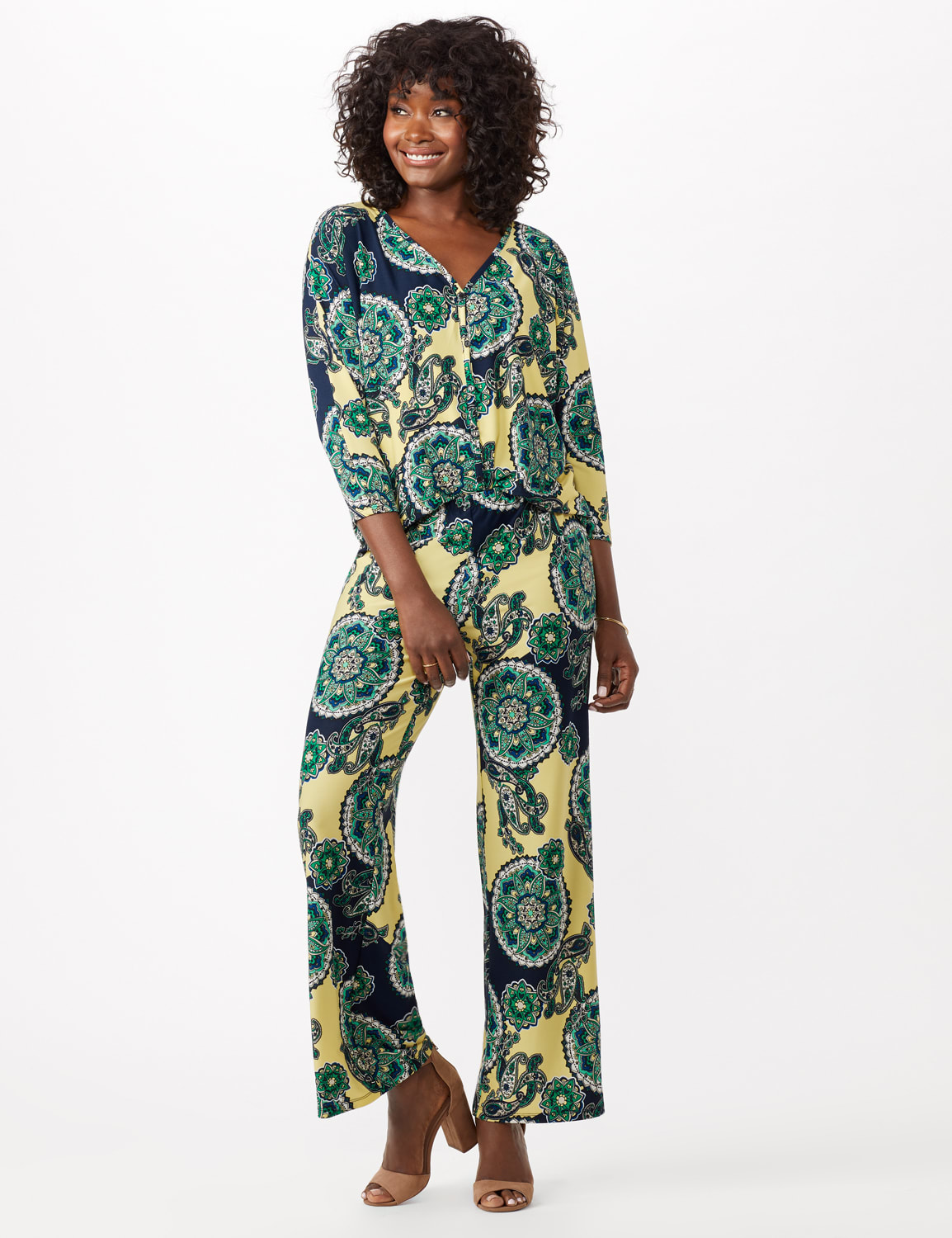 Knit Pull on Print Pant - Yellow/Green - Front