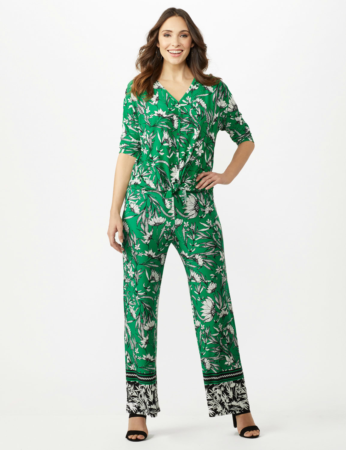 Knit Pull on Print Pant - Green/Black/Ivory - Front