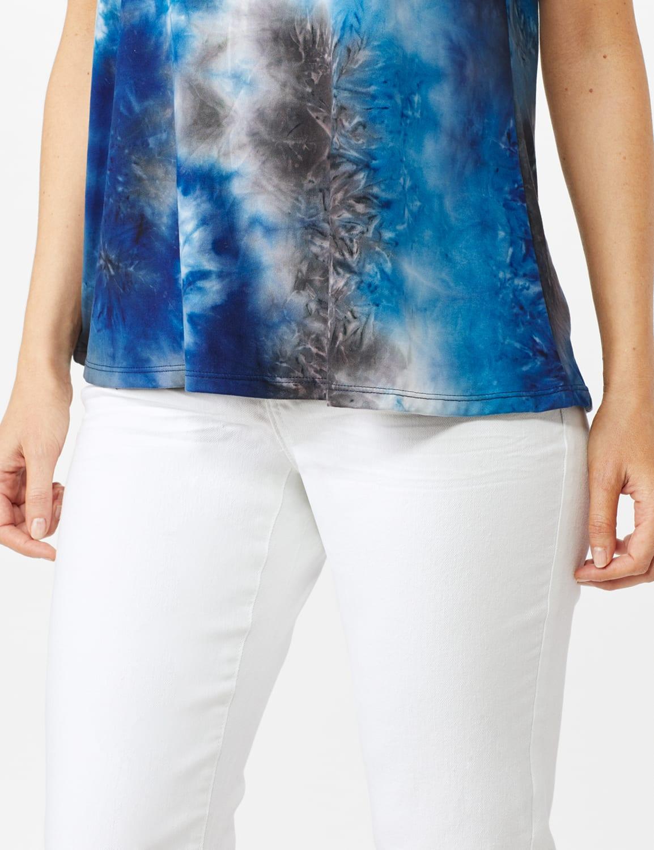 Tie Dye Cold Shoulder Knit Top - Misses - Navy - Front
