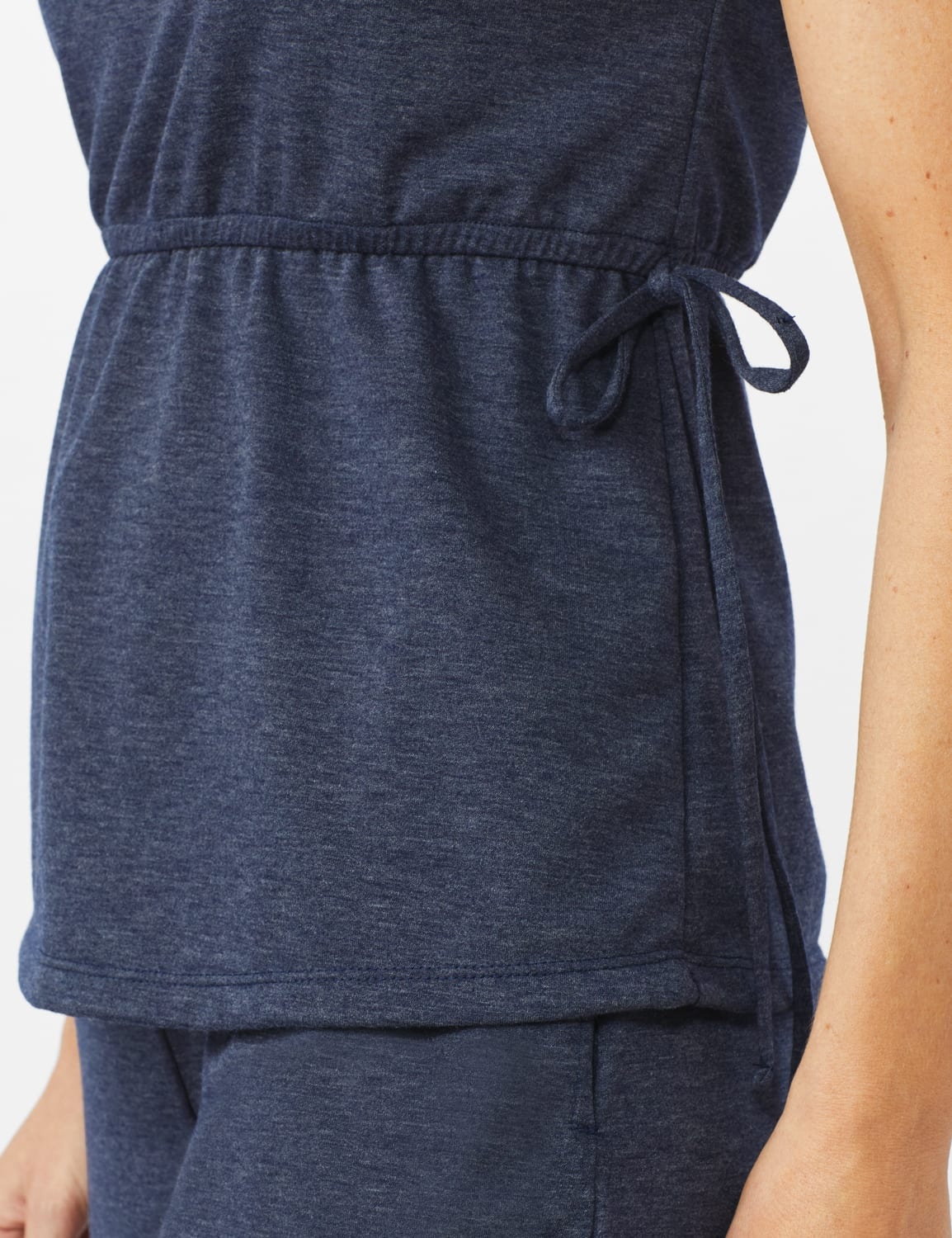 Cinch Waist Heathered Knit Top - Misses - Blue - Front
