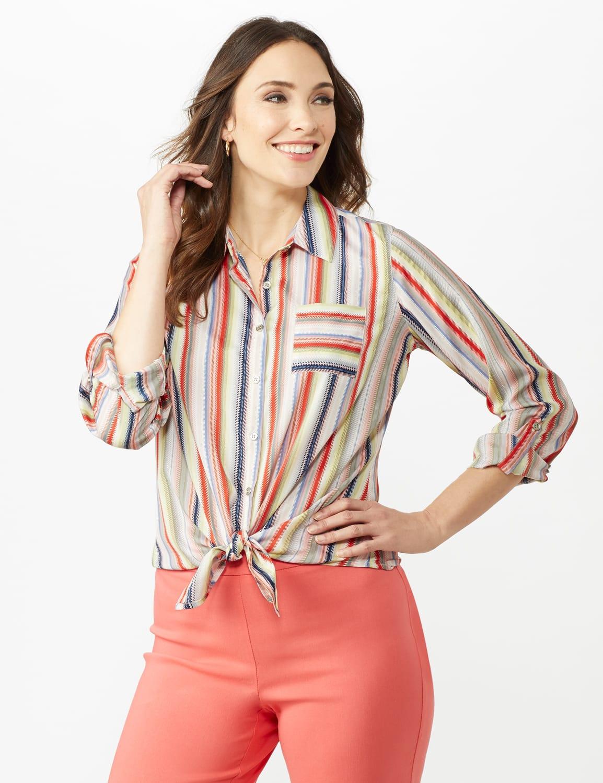 Multi Stripe Roll Tab Shirt - Misses - Multi - Front