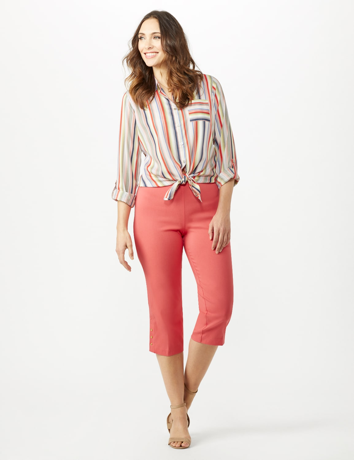 Pull On Crop Pants - Coral - Front