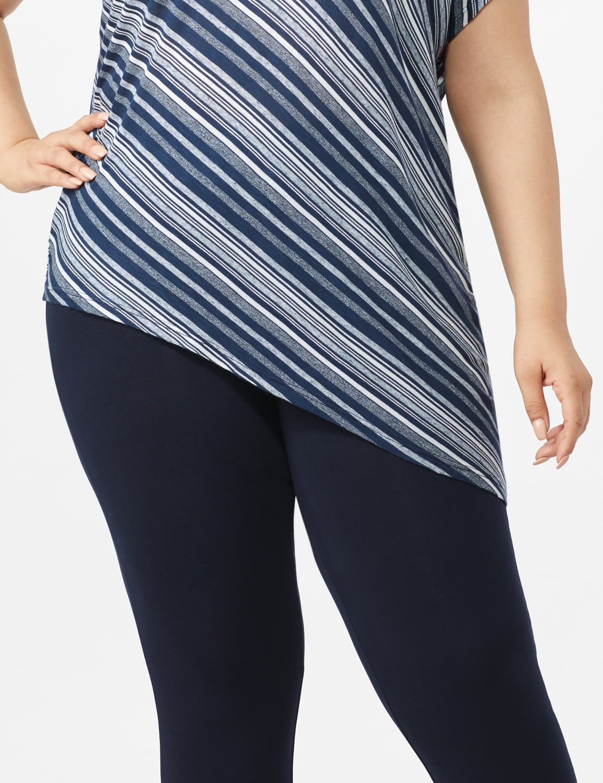 Asymmetrical Striped Knit Tunic - Blue - Front