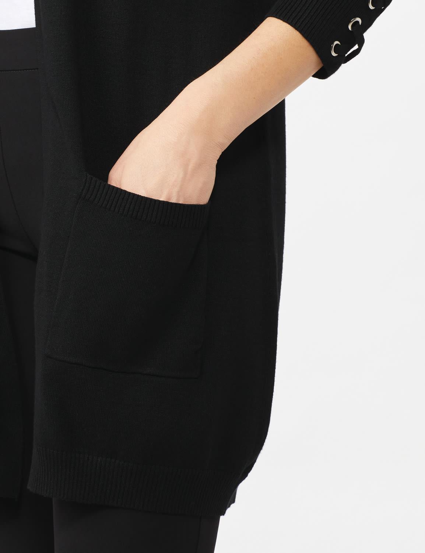 Grommet Lace-Up Trim Open Cardigan - Black - Front
