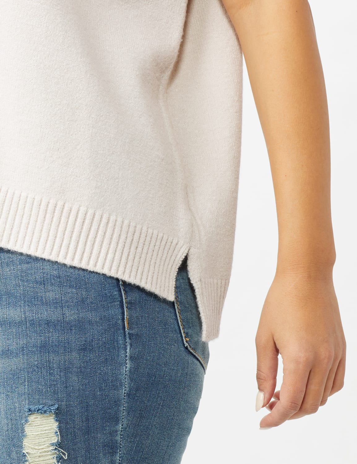 Hoodie Sweater Poncho - Pale Platinum - Front