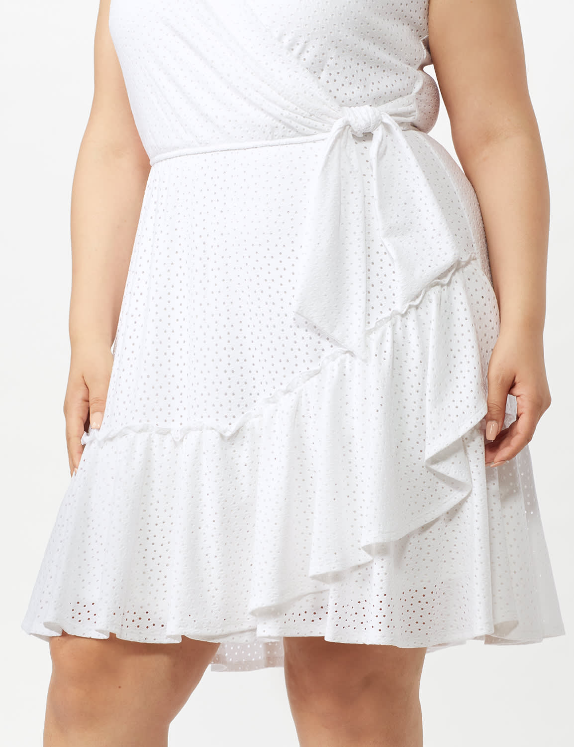 Sleeveless Eyelet Knit Side Tie Ruffle Hem Dress - Plus - White - Front