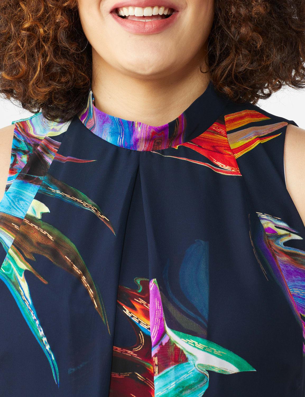 Sleeveless Chiffon Brush Stroke Mock Neck Dress - Navy Multi - Front