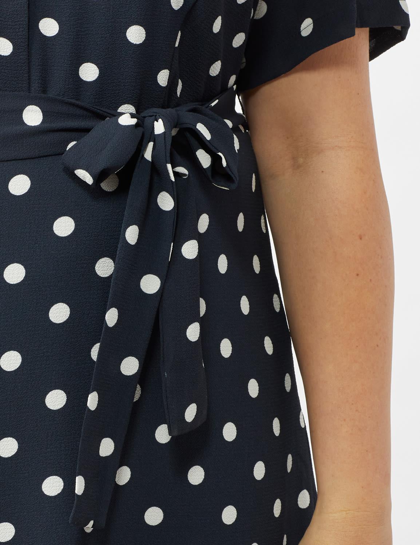 Short Sleeve Dot Shirt Dress with Self Belt - Navy/Ivory - Front