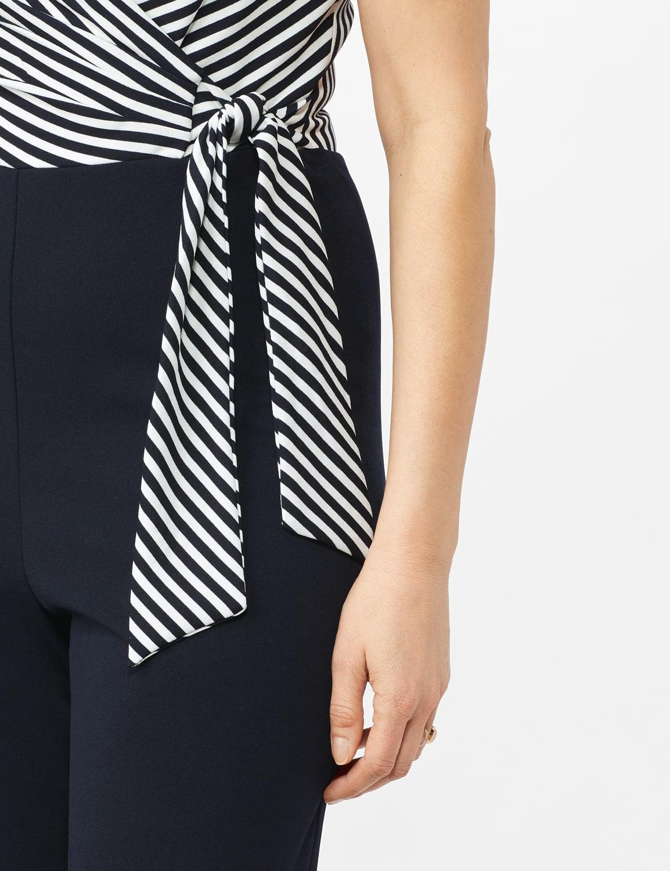 Faux Wrap Side Tie Jumpsuit - Navy/Ivory - Front