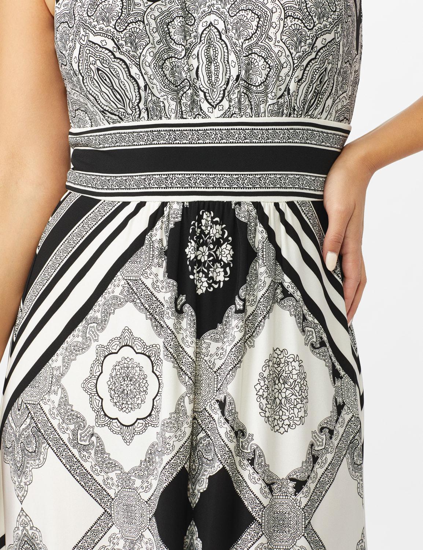 Halter Neck  Medallion Print with Stripes Maxi Dress - White/Black - Front