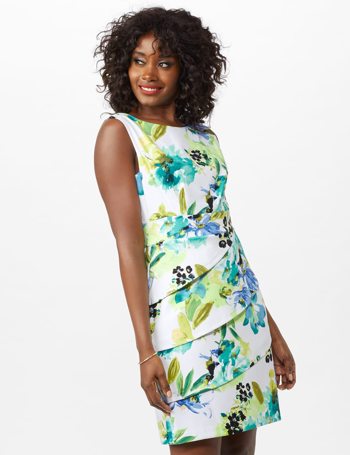Sleeveless Floral Asymmetrical Tiered Dress - Seafoam - Front