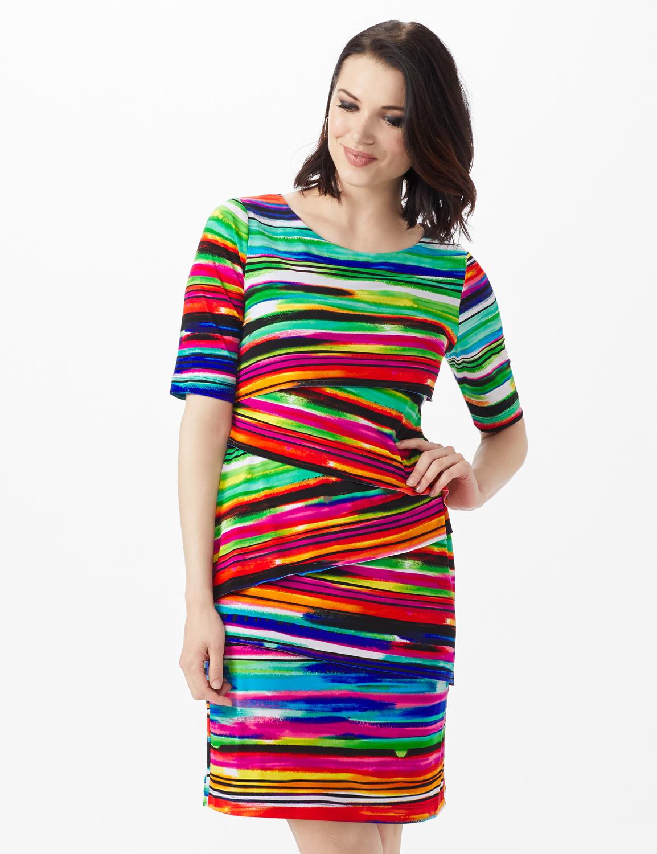 Elbow Sleeve Watercolor Stripe Bandage Dress - Royal - Front