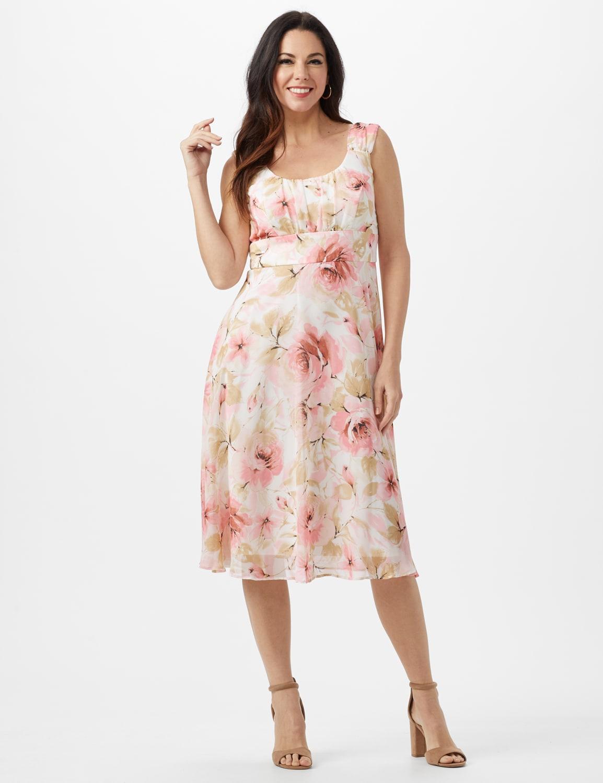 Rose Floral Emma Style Sleeveless Chiffon Dress - Rose - Front