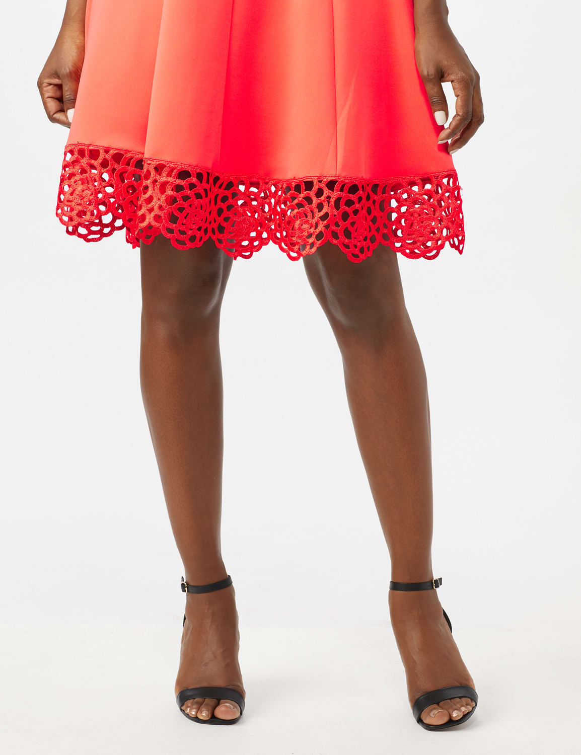 Fit and Flare Scuba Dress with Lace Trim Hem - Coral - Front
