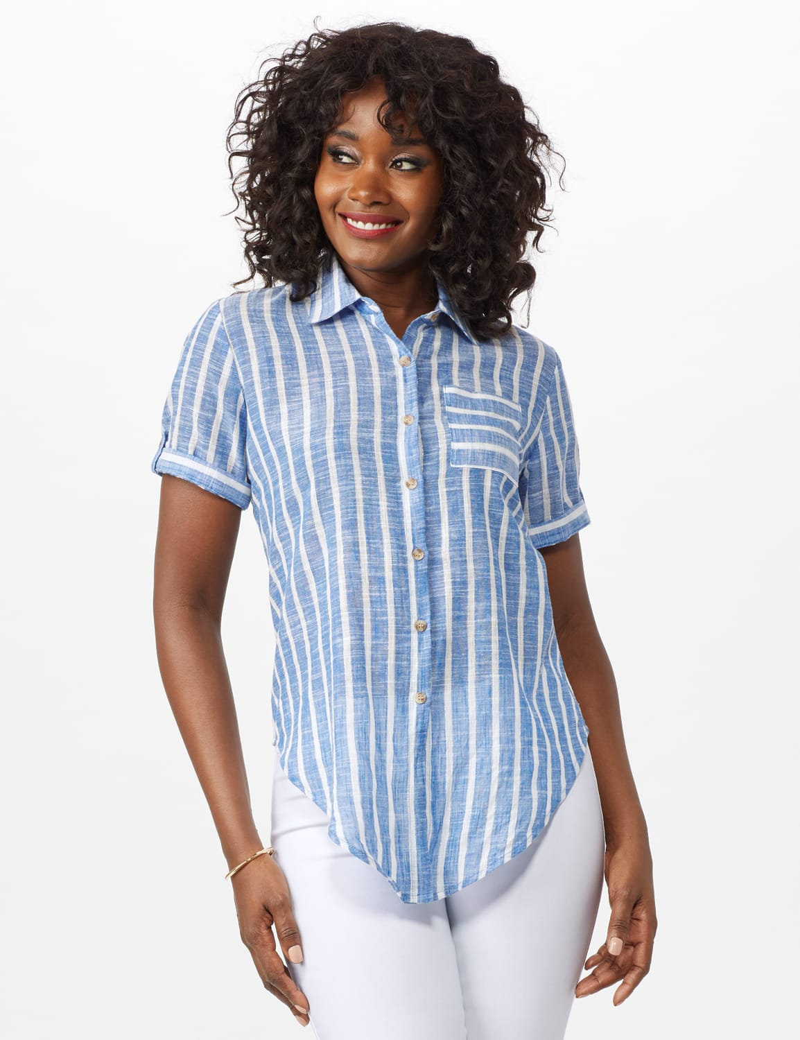 Dressbarn Lurex Stripe 1 Pocket Shirt - Misses - Blue - Front