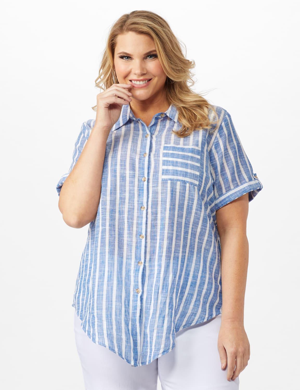 Dressbarn Lurex Stripe 1 Pocket Shirt - Plus - Blue - Front