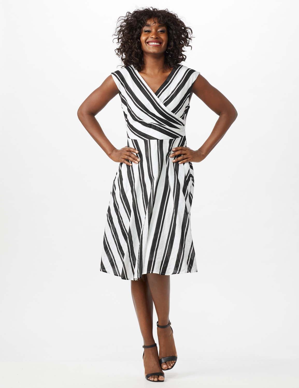 Stripe Textured Cotton Faux Wrap Dress - White/Black - Front