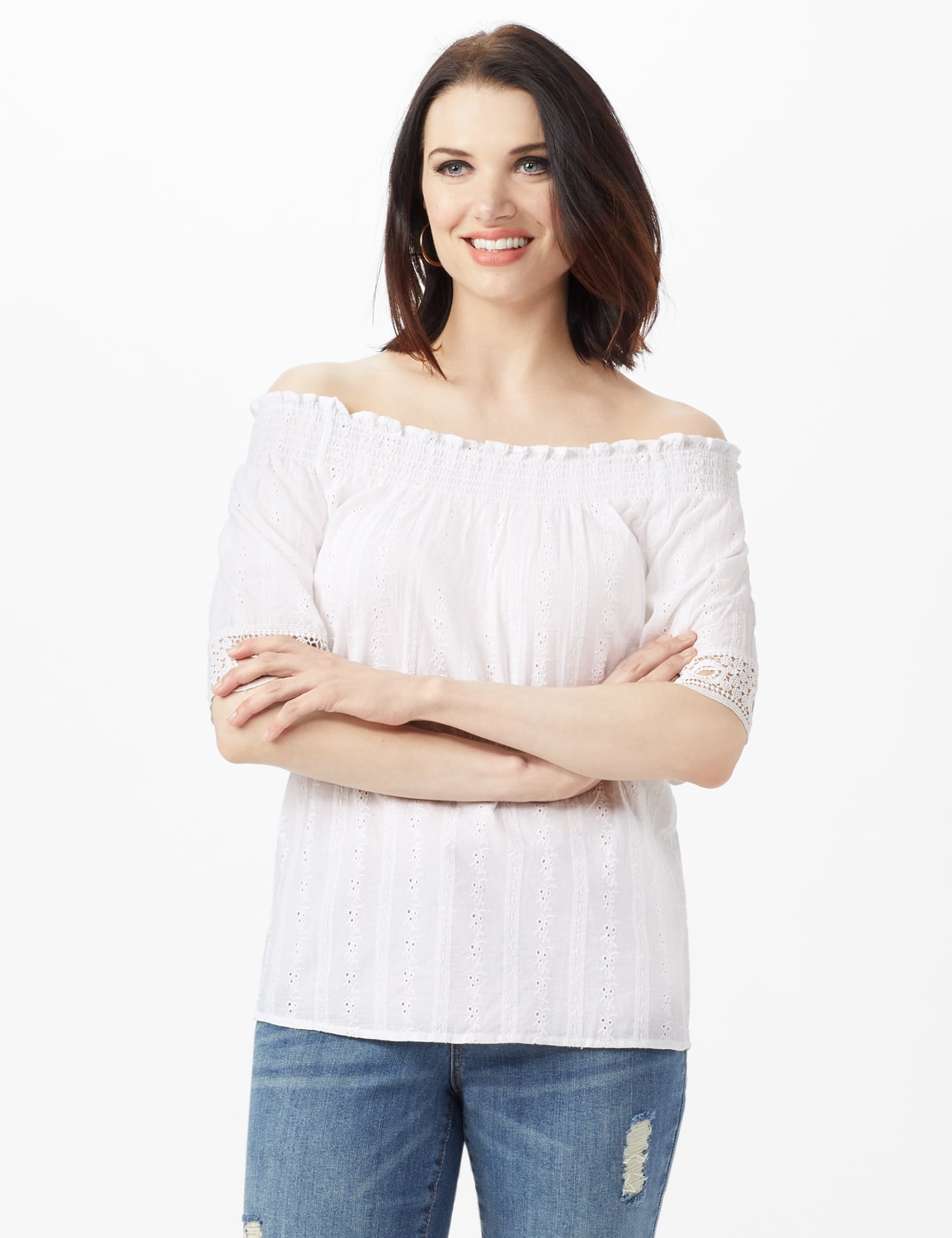 Eyelet Woven Peasant Top - White - Front