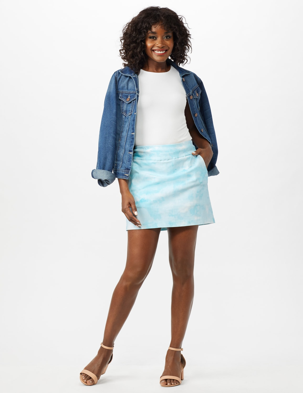 Pull On Tie Dye Skorts with Pockets - Azurine/White - Front