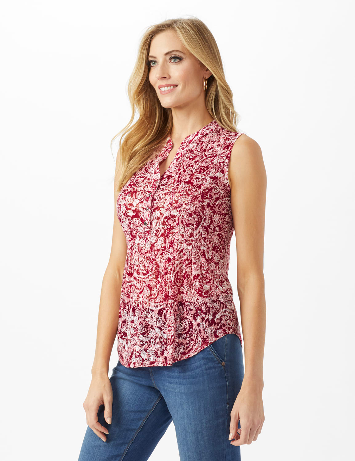 Floral Popover Knit Top - Red/White - Front