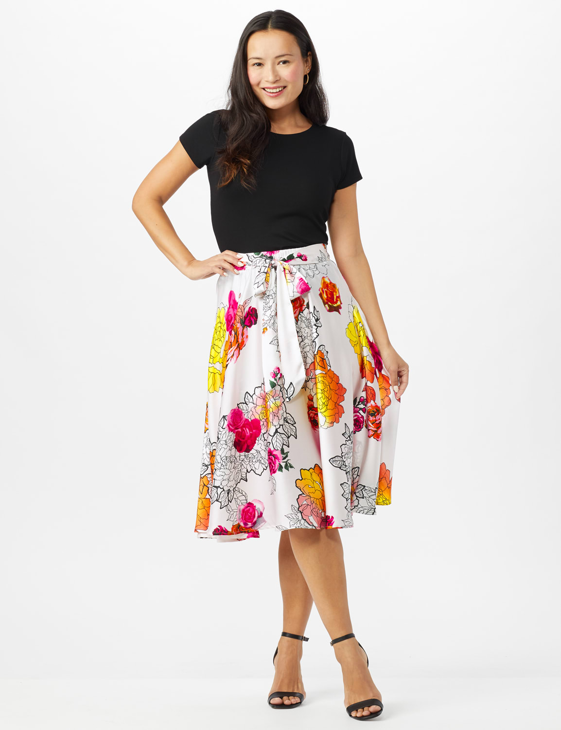Printed Floral Skirt with All Around Elastic Waist and Tie - Red /Coral Rose - Front