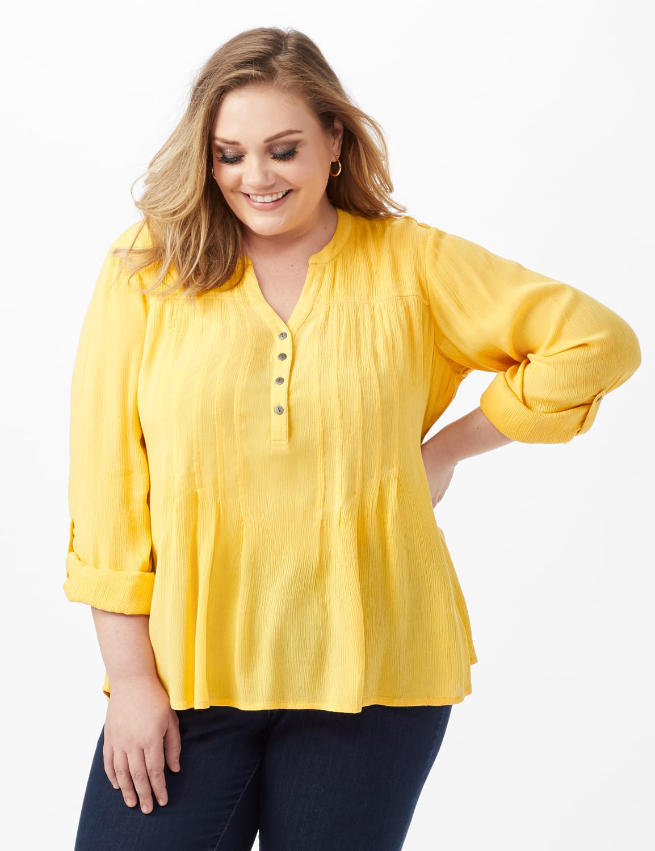 Dressbarn Crinkle Pintuck Popover - Golden Creme - Front