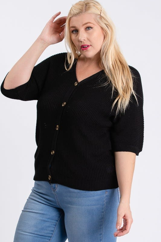 V-Neck Sweater - Black - Front